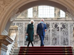 The Prince of Wales and the Duchess of Cornwall during a visit to Belfast City Hall (Tim Rooke/PA)