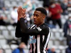 Newcastle's Joe Willock applauds the fans after scoring his sixth goal in as many Premier League games (Alex Pantling/PA)