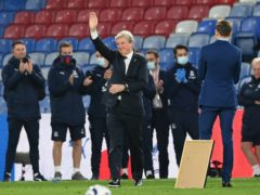 Crystal Palace manager Roy Hodgson salutes the fans following the defeat to Arsenal (Facundo Arrizabalaga/PA)