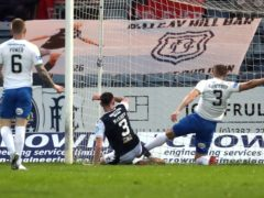Jordan McGhee (centre) netted in Dundee's play-off win over Kilmarnock (Andrew Milligan/PA)