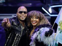 Rapper Flo Rida, left, and Senhit celebrate San Marino qualifying for Saturday's Eurovision Song Contest final (AP Photo/Peter Dejong)