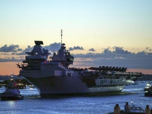 HMS Queen Elizabeth departs HM Naval Base (Steve Parsons/PA)