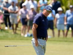 Phil Mickelson held a two-shot lead with nine holes to play in the US PGA Championship (David J. Phillip/AP)