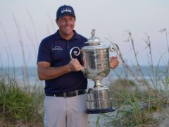 Phil Mickelson holds the Wanamaker Trophy after winning the US PGA Championship (David J. Phillip/AP)