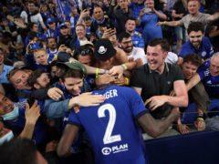 Chelsea's Antonio Rudiger celebrates with fans in Porto (Nick Potts/PA)