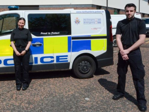 Pc Alexandra Rackstraw and Pc Andrew Curtis saved the woman from the sea (Northumbria Police/PA)