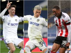 Leeds defenders Diego Llorente, left, and Ezgjan Alioski and Sheffield United forward Daniel Jebbison, right, are among gameweek 37's picks (Lee Smith/Paul Ellis/Alex Pantling/PA)