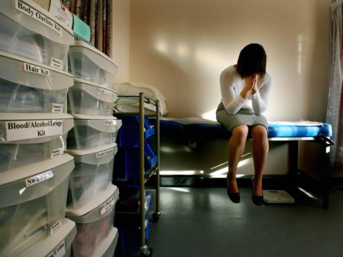 PICTURE POSED BY MODEL. A rape victim waits to be seen by the doctor in the medical room at a specialist rape clinic in Kent (Gareth Fuller/PA)