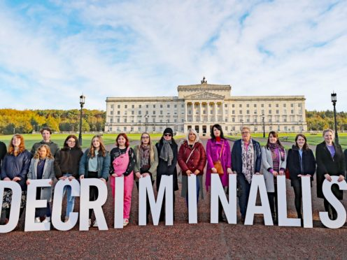Pro-choice activists in the grounds of Stormont Parliament, Belfast