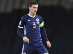 Andy Robertson will lead Scotland out at Hampden on Monday (Ian Rutherford/PA).