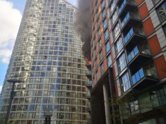 The blaze tore through the block last month (Athina Fokidou/PA)