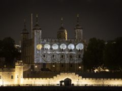 The Royal Mint has saluted the Queen with projections of coins from her reign (Doug Peters/PA)