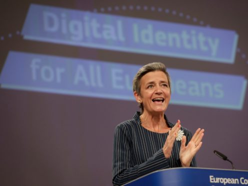Margrethe Vestager unveiled the plans for a digital ID wallet (Stephanie Lecocq/via AP)