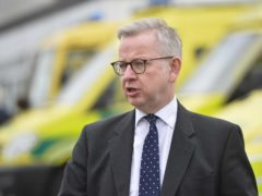 Minister for the Cabinet Office and Chancellor of the Duchy of Lancaster, Michael Gove, addresses the media during a visit to the Northern Ireland Ambulance head quarters in Belfast. (Mark Marlow/PA)