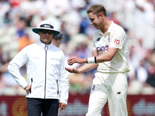 Stuart Broad speaks to the umpires after New Zealand's Devon Conway was given not out (Mike Egerton/PA)