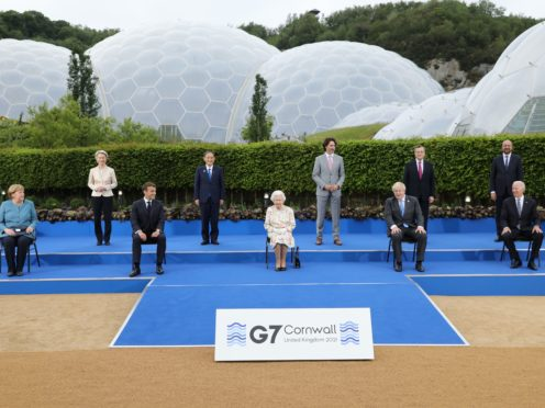 The Queen poses with G7 leaders before a reception (Jack Hill/The Times/PA)