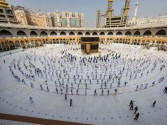 Pilgrims at the Grand Mosque in Meccalast year (Saudi Ministry of Media via AP, File)