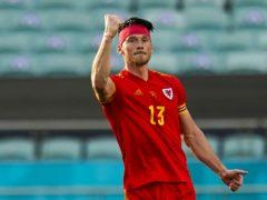 Kieffer Moore celebrates scoring for Wales against Switzerland at Euro 2020 (PA)