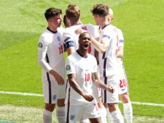 Raheem Sterling scored his first major tournament goal as England won their opening match at the European Championships for the first time (Martin Rickett/PA)