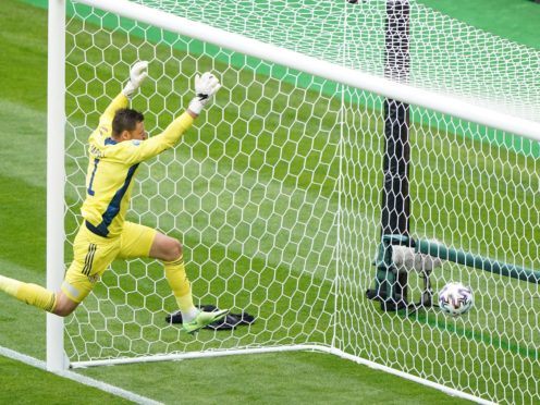 David Marshall, pictured, was unable to keep out Patrik Schick's brilliant second goal (Owen Humphreys/PA)