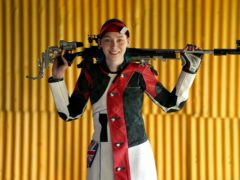 Seonaid McIntosh during a photocall for the Tokyo Olympics 2020 at her shooting range in Alloa, Scotland. (Andrew Milligan/PA)