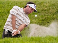 Bubba Watson plays from a bunker on the ninth hole during the second round of the US Open (Jae C. Hong/AP)
