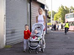 Alice-Lee Bunting with her sons Darraigh (four) and Keaghan Tommy Bunting (eight months) (Liam McBurney/PA)