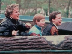 Diana enjoying a day out at Thorpe Park with Harry and William (Cliff Kent/PA)