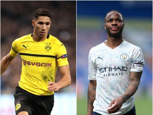 Achraf Hakimi (left) and Raheem Sterling feature in Thursday's football rumours (John Walton/Steve Paston/PA)
