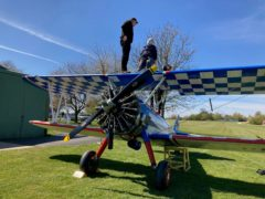 Lyn Mitchell, 90, gets ready to take part in her charity wing-walk challenge (Macmillan Cancer Support/PA).