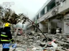 Scene of a gas explosion in Shiyan city in central China's Hubei province (CCTV via AP)