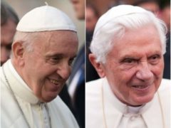 Pope Francis and emeritus Pope Benedict (Joe Giddens/Leon Neal/PA)