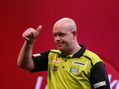 Michael Van Gerwen is through to the last four in Blackpool (Zac Goodwin/PA)
