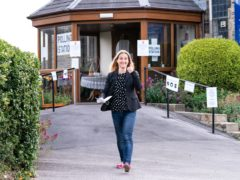 Labour candidate Kim Leadbeater leaves Norristhorpe United Reformed Church polling station after casting her vote in the West Yorkshire constituency by-election at Batley and Spen (Danny Lawson/PA)