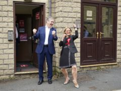 Sir Keir Starmer and Kim Leadbeater celebrate Labour's win in the Batley and Spen by-election (Peter Byrne/PA)