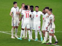 The England team during Sunday's penalty shootout defeat (Mike Egerton/PA)