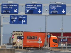 A lorry at Belfast Harbour, as controversy over Brexit's Irish Sea border deepens (Brian Lawless/PA)