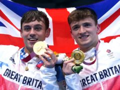 Tom Daley and Matty Lee celebrate winning gold (Adam Davy/PA)