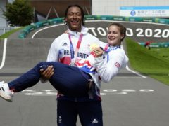Beth Shriever and Kye Whyte celebrate their medals (Danny Lawson/PA)