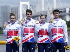 Jessica Learmonth, Jonathan Brownlee, Georgia Taylor-Brown and Alex Yee won the triathlon mixed relay (Danny Lawson/PA)