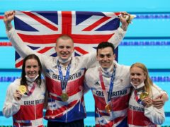 Kathleen Dawson, Adam Peaty, James Guy, and Anna Hopkin secured victory for Britain in the mixed 4x100m medley relay (Joe Giddens/PA)