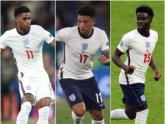 Marcus Rashford, Jadon Sancho and Bukayo Saka were subjected to racist abuse after their penalty misses for England (Nick Potts/Lars Baron/Mike Egerton/PA)