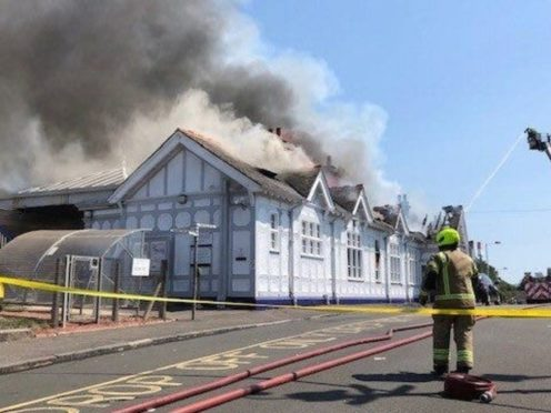 The fire at Troon station (Network Rail Scotland/PA)
