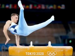 Great Britain's Max Whitlock during his gold medal winning pommel routine on day nine of the Tokyo Olympics (Mike Egerton/PA Images).
