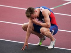 Norway's Karsten Warholm pictured after winning the men's 400m hurdles final in a world record time (Joe Giddens/PA Images).