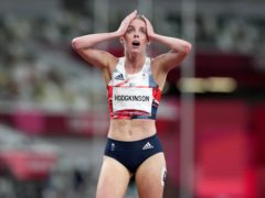 Keely Hodgkinson reacts after the 800m final (Martin Rickett/PA)