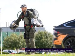 Richard Browning demonstrating Gravity, a human jet suit system, at the Dstl Laboratory based at Porton Down, near Salisbury, Wiltshire (Dstl/PA)