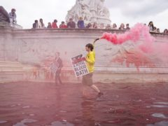 Demonstrators released red dye into the Buckingham Palace fountains in protest at animal hunting (Jonathan Brady/PA)