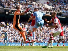 Ferran Torres scores Manchester City's fifth goal against Arsenal (Nick Potts/PA)