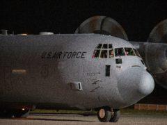 A US air force aircraft carrying families evacuated from Kabul (Visar Kryeziu/AP)